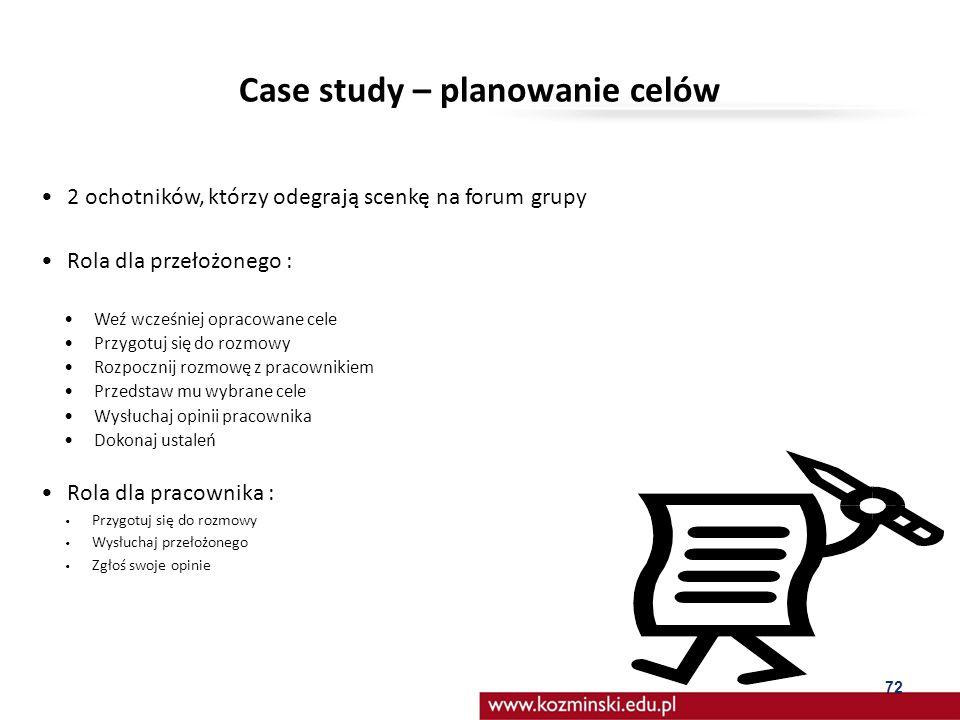Case study – planowanie celów