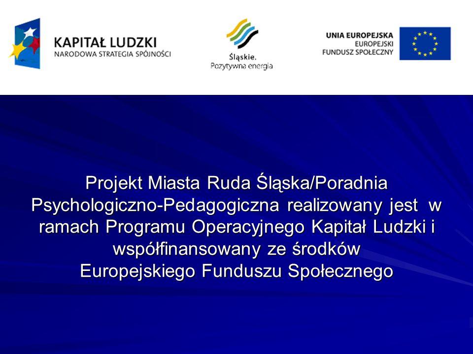 Projekt Miasta Ruda Śląska/Poradnia Psychologiczno-Pedagogiczna realizowany jest w ramach Programu Operacyjnego Kapitał Ludzki i współfinansowany ze środków Europejskiego Funduszu Społecznego