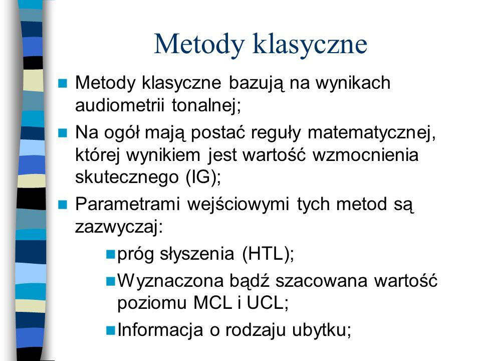 Metody klasyczne Metody klasyczne bazują na wynikach audiometrii tonalnej;