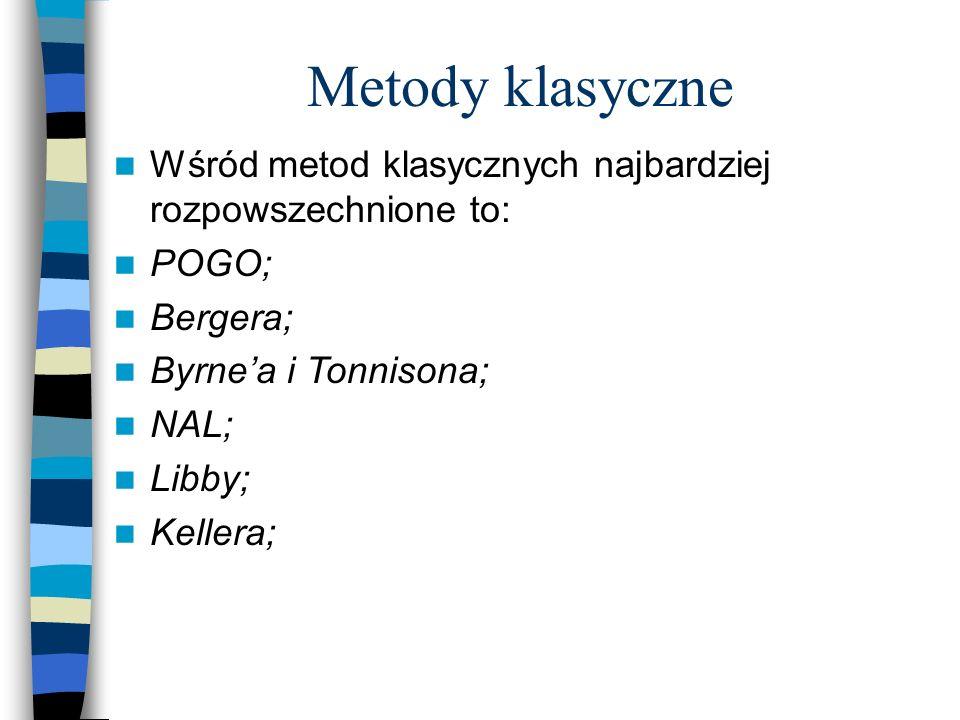 Metody klasyczne Wśród metod klasycznych najbardziej rozpowszechnione to: POGO; Bergera; Byrne'a i Tonnisona;