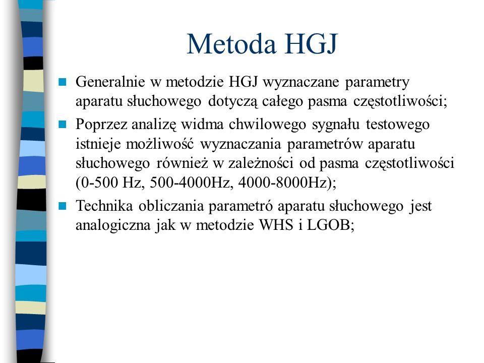 Metoda HGJ Generalnie w metodzie HGJ wyznaczane parametry aparatu słuchowego dotyczą całego pasma częstotliwości;