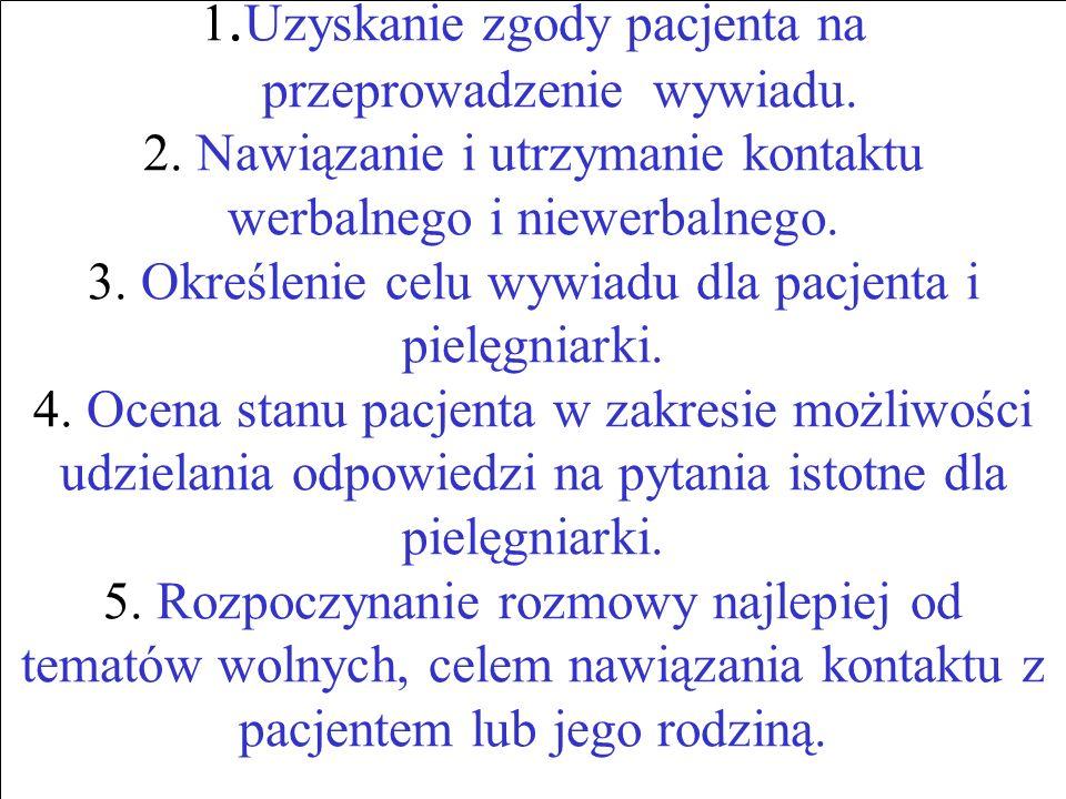 1. Uzyskanie zgody pacjenta na przeprowadzenie wywiadu. 2