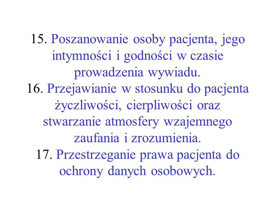 15. Poszanowanie osoby pacjenta, jego intymności i godności w czasie prowadzenia wywiadu.