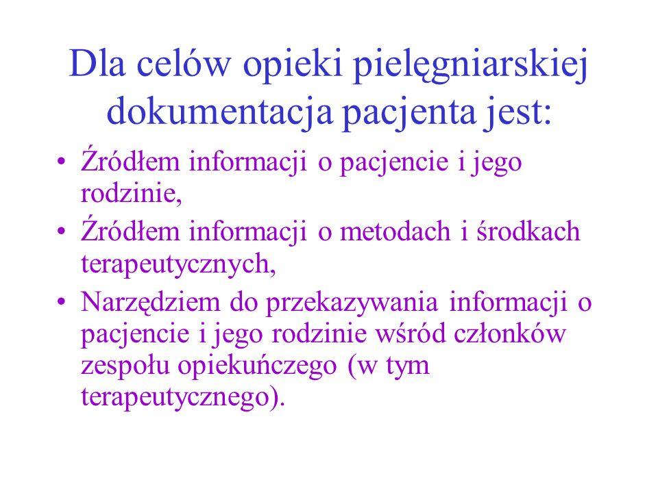 Dla celów opieki pielęgniarskiej dokumentacja pacjenta jest: