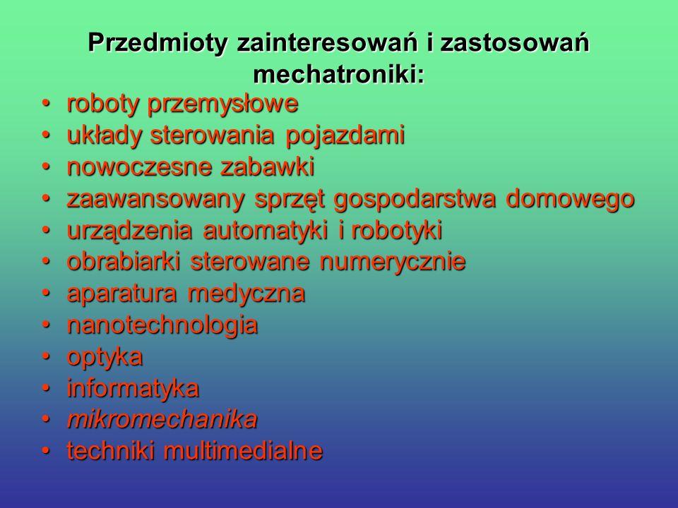 Przedmioty zainteresowań i zastosowań mechatroniki: