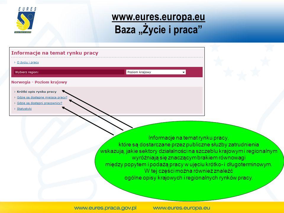 """www.eures.europa.eu Baza """"Życie i praca"""