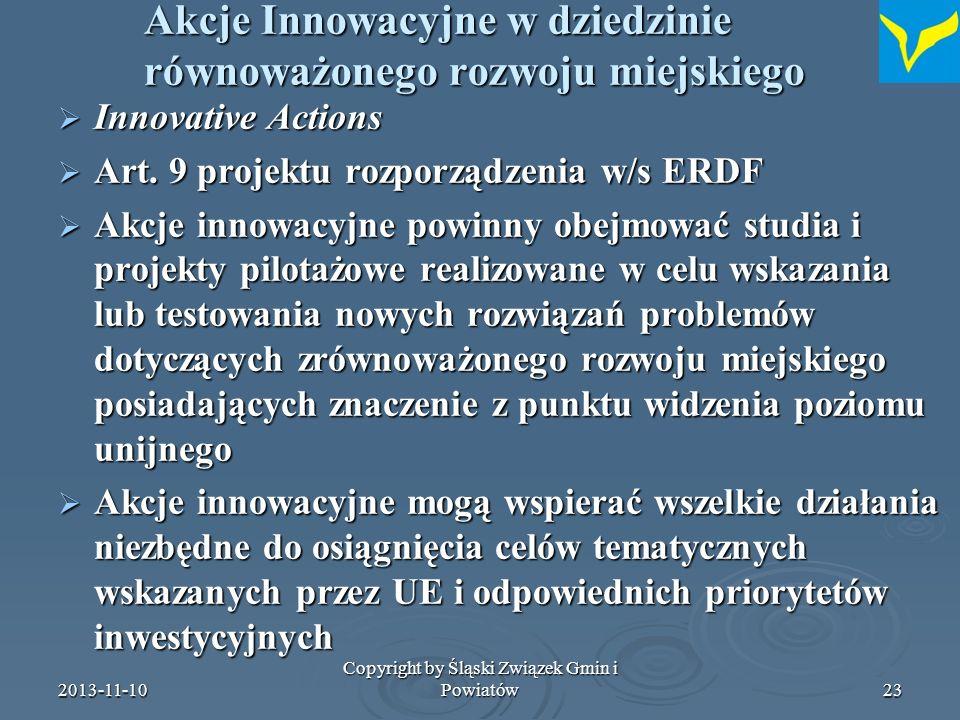 Akcje Innowacyjne w dziedzinie równoważonego rozwoju miejskiego
