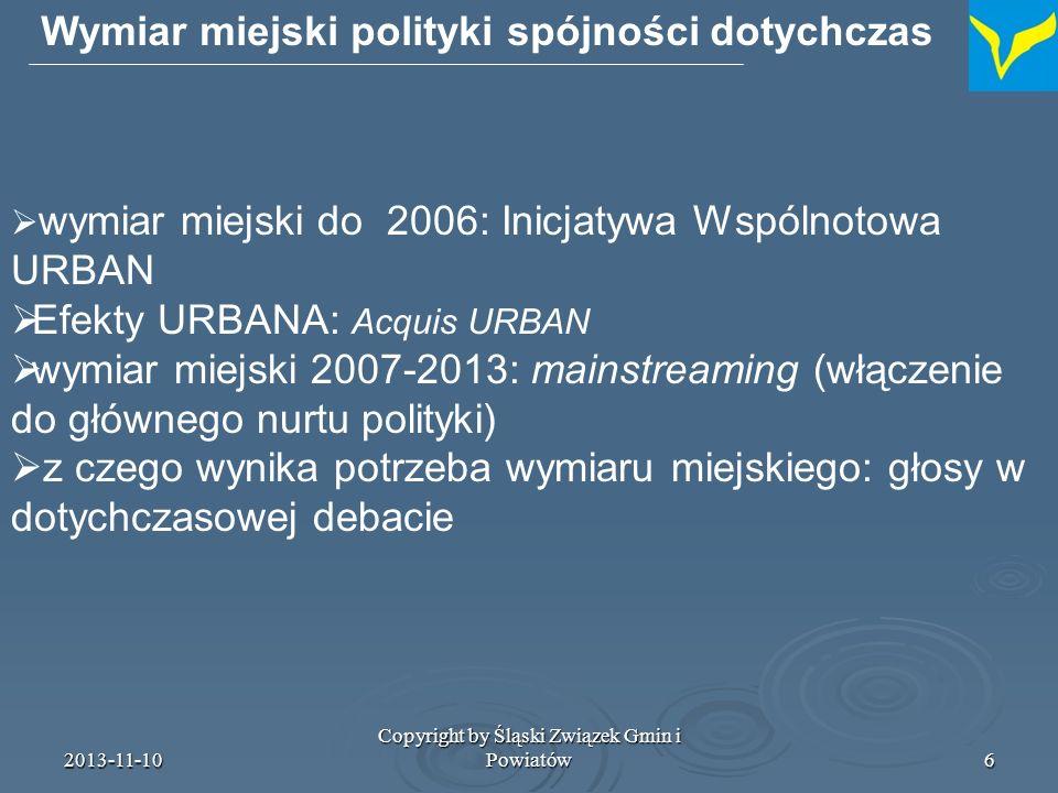 Wymiar miejski polityki spójności dotychczas
