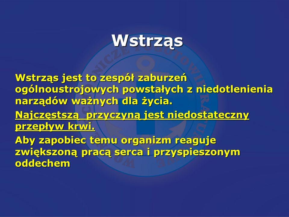 Wstrząs Wstrząs jest to zespół zaburzeń ogólnoustrojowych powstałych z niedotlenienia narządów ważnych dla życia.