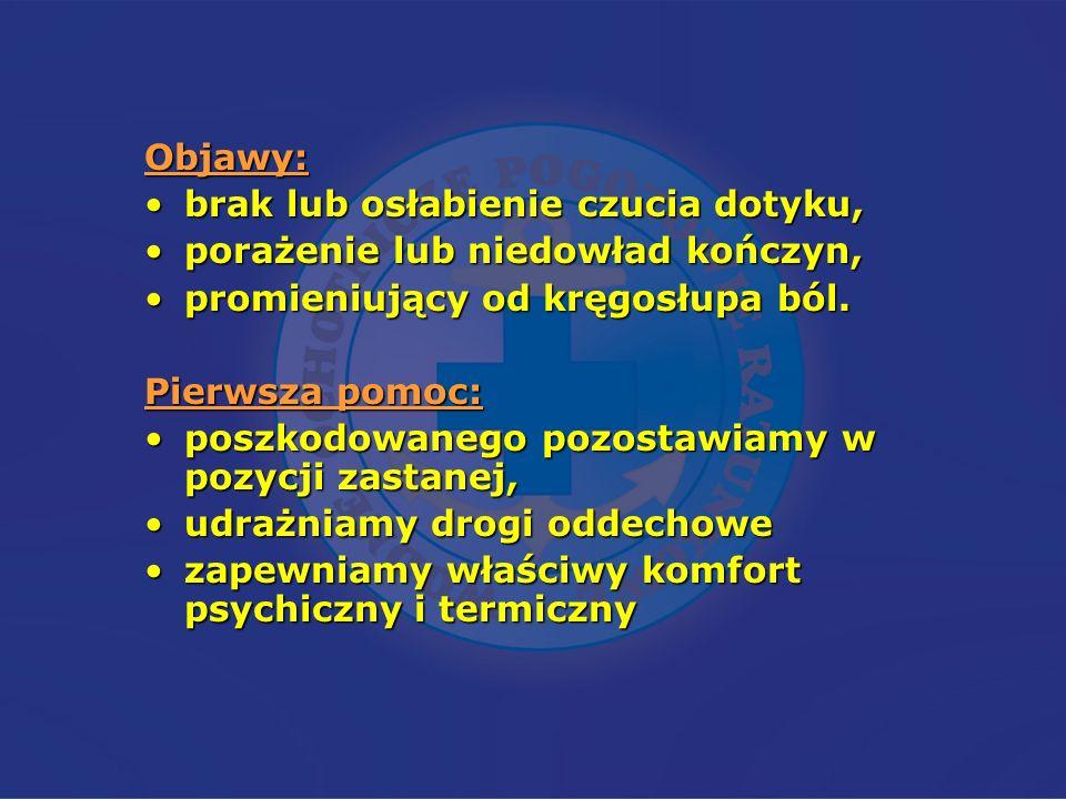 Objawy:brak lub osłabienie czucia dotyku, porażenie lub niedowład kończyn, promieniujący od kręgosłupa ból.