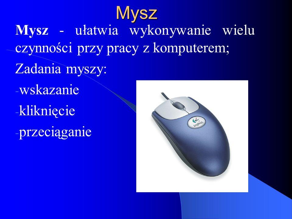 Mysz Mysz - ułatwia wykonywanie wielu czynności przy pracy z komputerem; Zadania myszy: wskazanie.