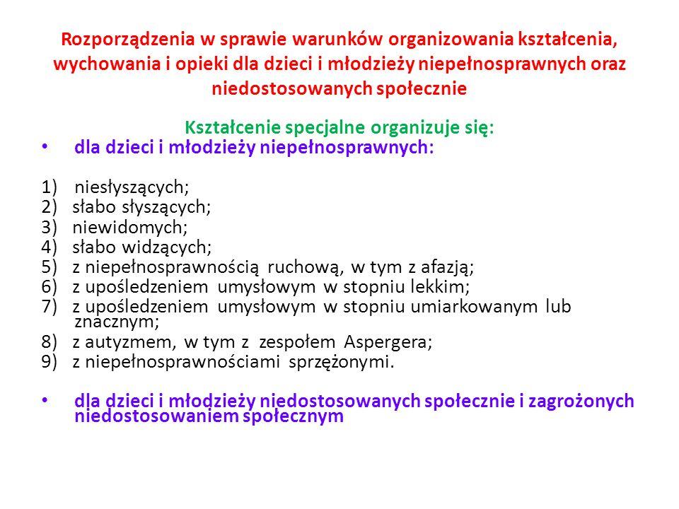 Kształcenie specjalne organizuje się: