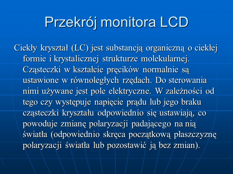 Przekrój monitora LCD