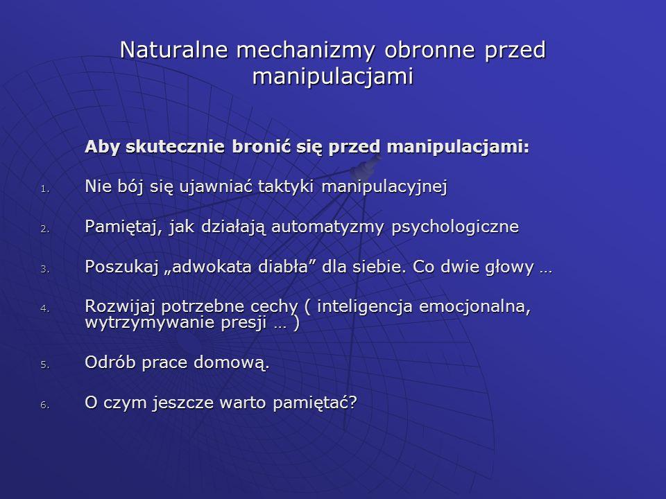 Naturalne mechanizmy obronne przed manipulacjami