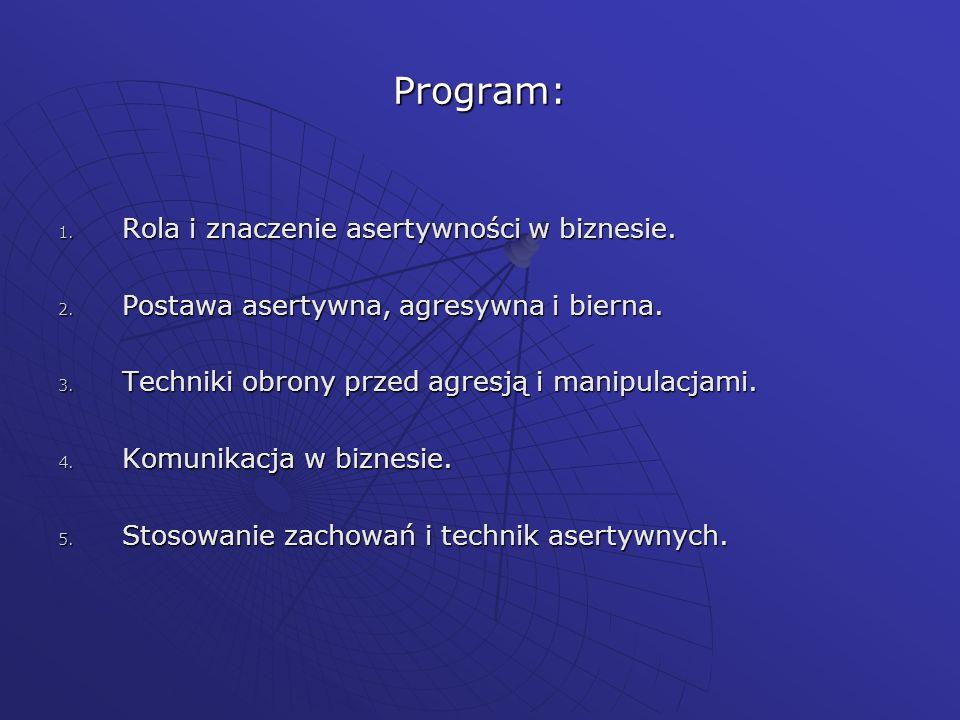 Program: Rola i znaczenie asertywności w biznesie.