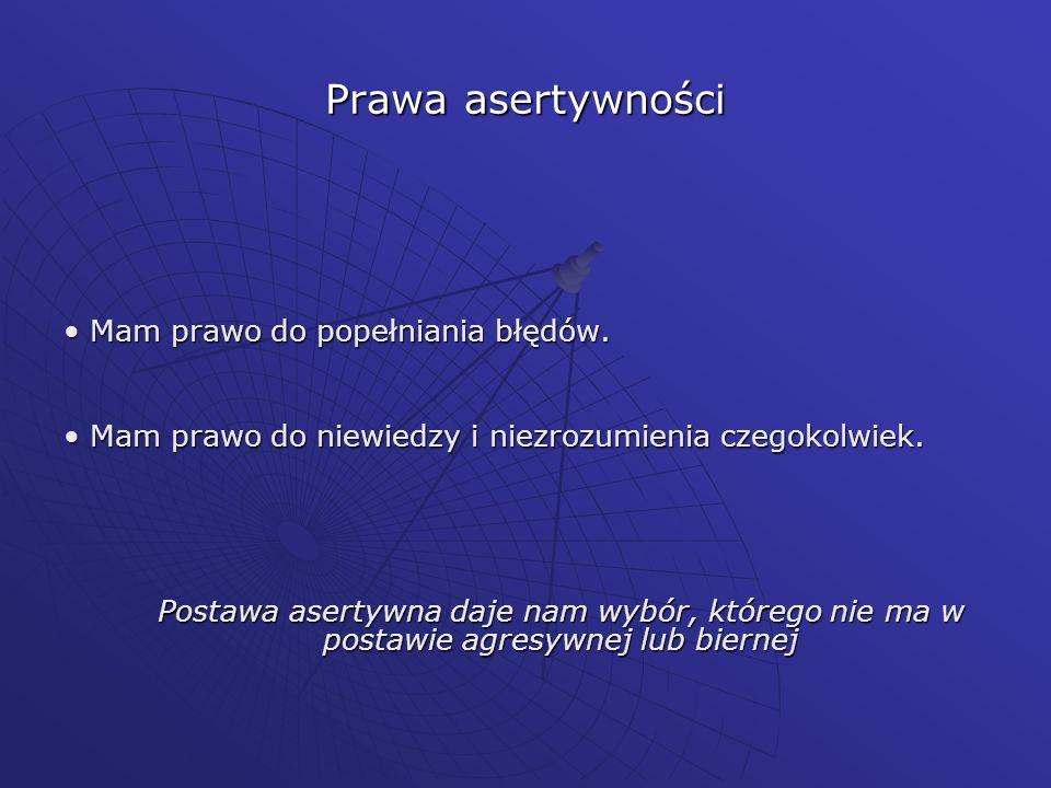 Prawa asertywności • Mam prawo do popełniania błędów.