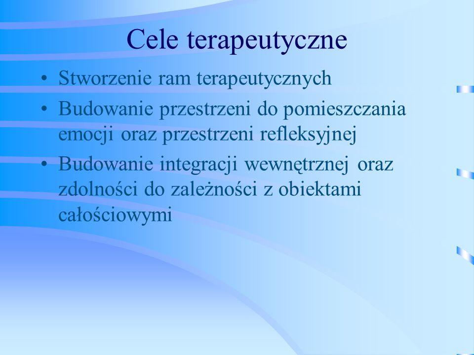 Cele terapeutyczne Stworzenie ram terapeutycznych