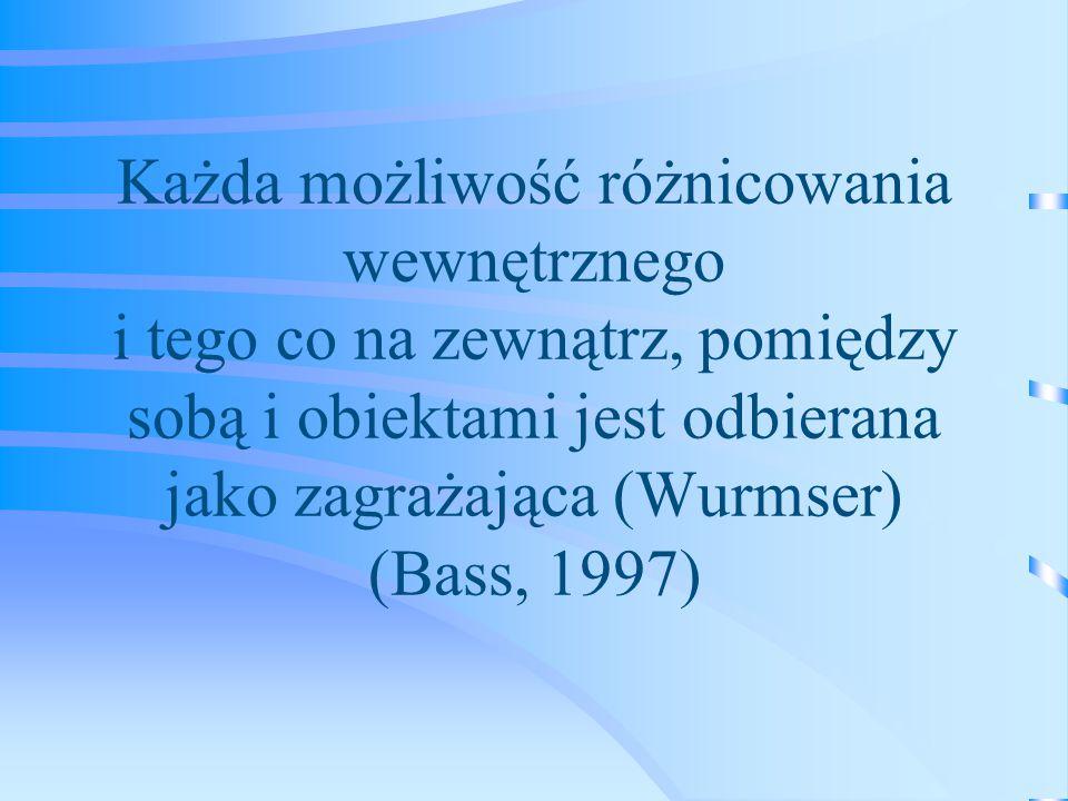 Każda możliwość różnicowania wewnętrznego i tego co na zewnątrz, pomiędzy sobą i obiektami jest odbierana jako zagrażająca (Wurmser) (Bass, 1997)