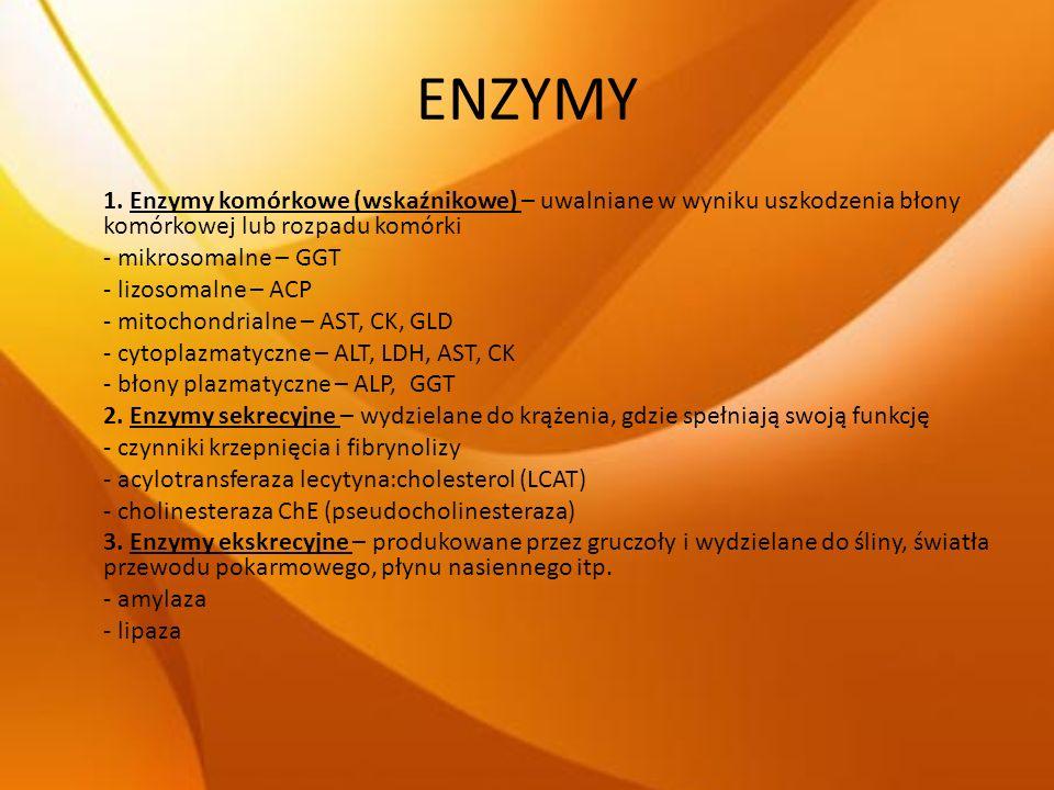 ENZYMY 1. Enzymy komórkowe (wskaźnikowe) – uwalniane w wyniku uszkodzenia błony komórkowej lub rozpadu komórki.