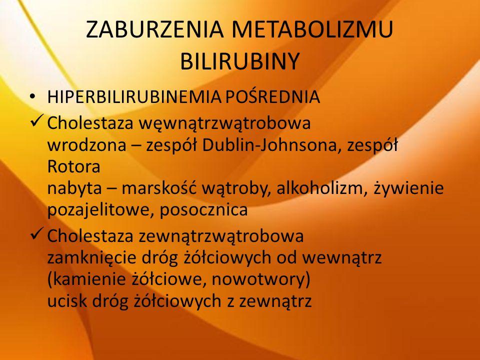 ZABURZENIA METABOLIZMU BILIRUBINY