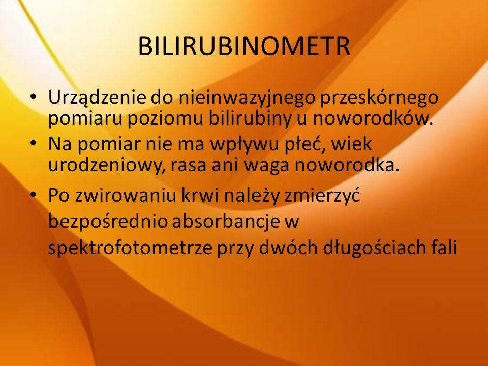 BILIRUBINOMETR Urządzenie do nieinwazyjnego przeskórnego pomiaru poziomu bilirubiny u noworodków.