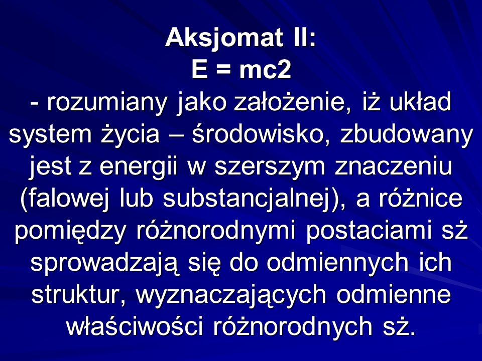 Aksjomat II: E = mc2 - rozumiany jako założenie, iż układ system życia – środowisko, zbudowany jest z energii w szerszym znaczeniu (falowej lub substancjalnej), a różnice pomiędzy różnorodnymi postaciami sż sprowadzają się do odmiennych ich struktur, wyznaczających odmienne właściwości różnorodnych sż.
