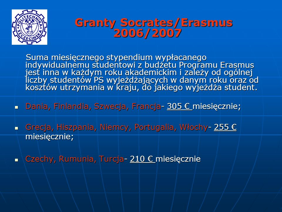 Granty Socrates/Erasmus 2006/2007