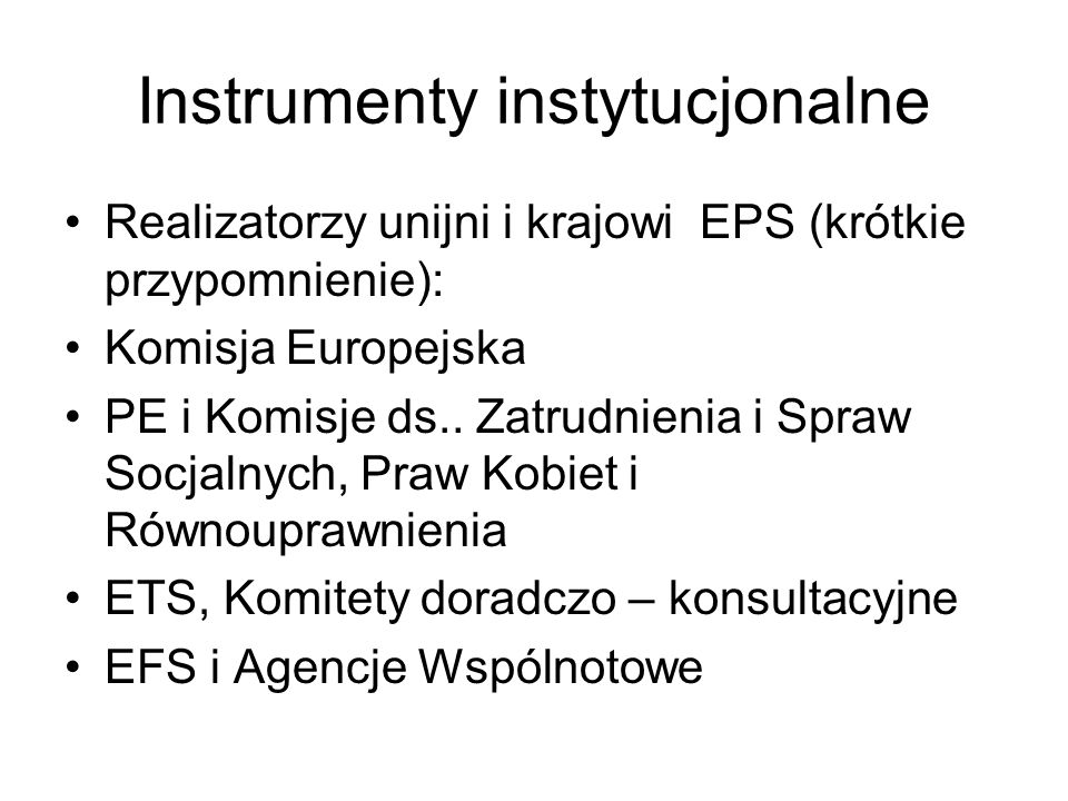 Instrumenty instytucjonalne