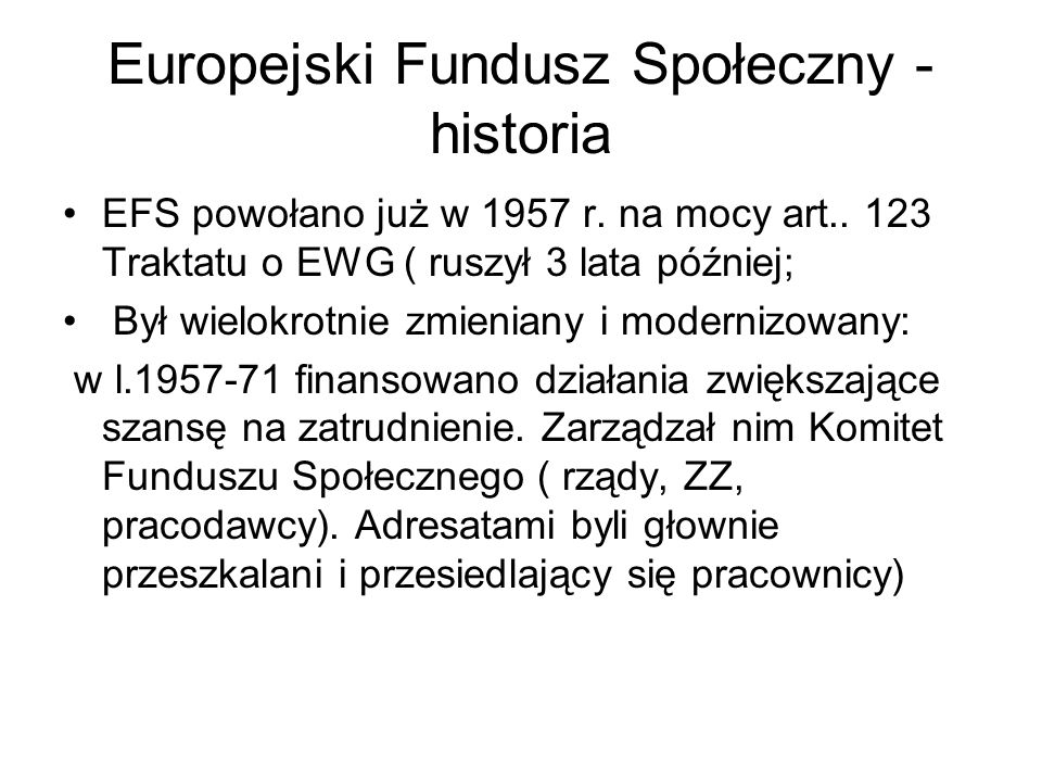 Europejski Fundusz Społeczny - historia