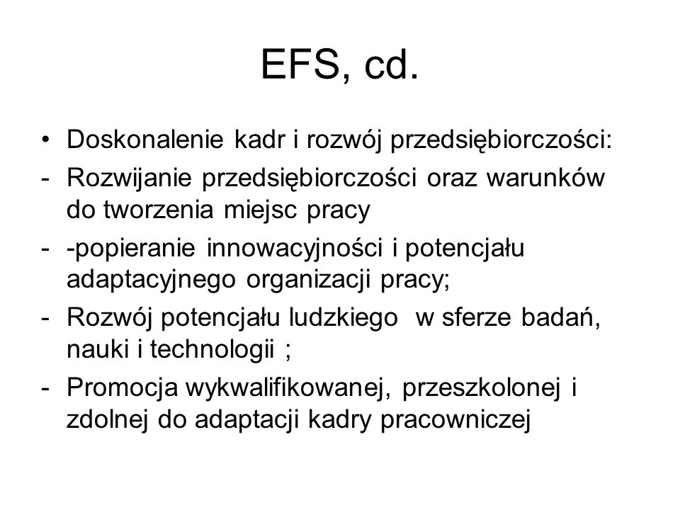 EFS, cd. Doskonalenie kadr i rozwój przedsiębiorczości: