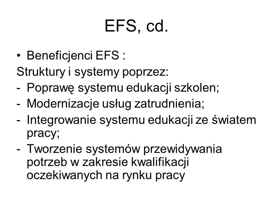 EFS, cd. Beneficjenci EFS : Struktury i systemy poprzez: