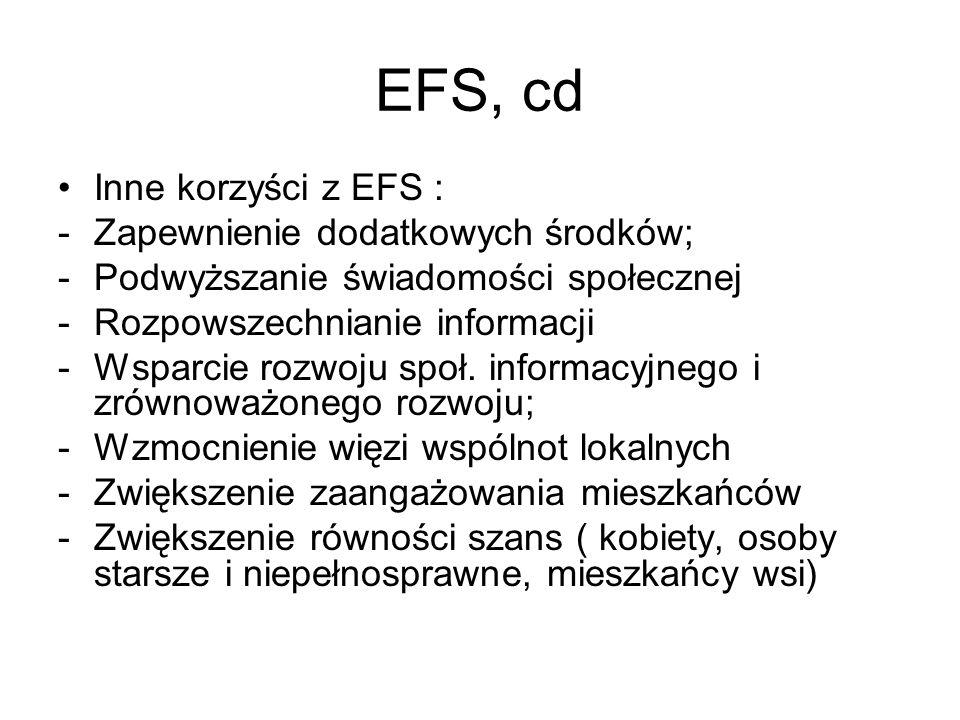 EFS, cd Inne korzyści z EFS : Zapewnienie dodatkowych środków;
