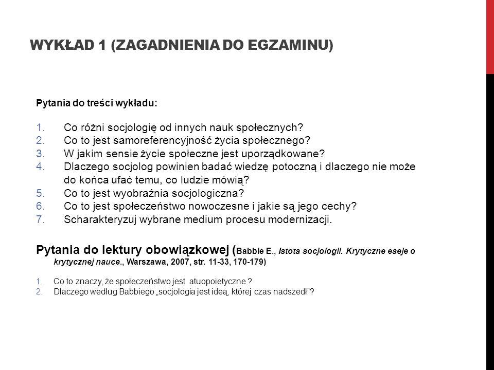 Wykład 1 (zagadnienia do egzaminu)