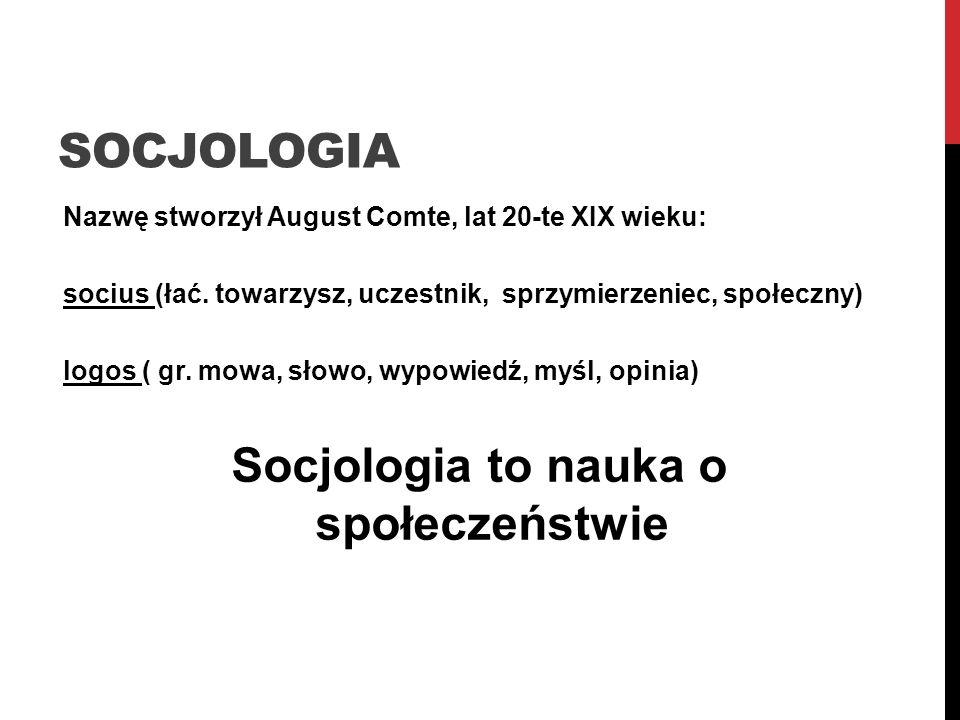 Socjologia to nauka o społeczeństwie