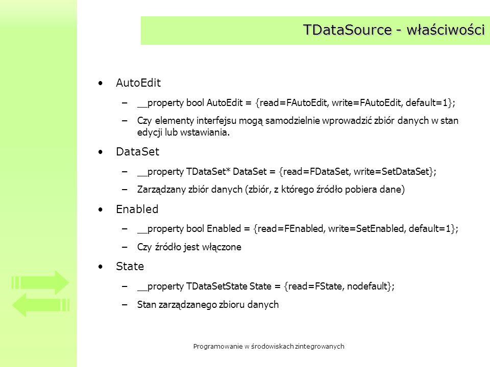 TDataSource - właściwości