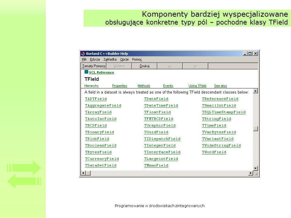 Komponenty bardziej wyspecjalizowane obsługujące konkretne typy pól – pochodne klasy TField