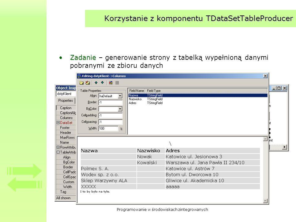 Korzystanie z komponentu TDataSetTableProducer