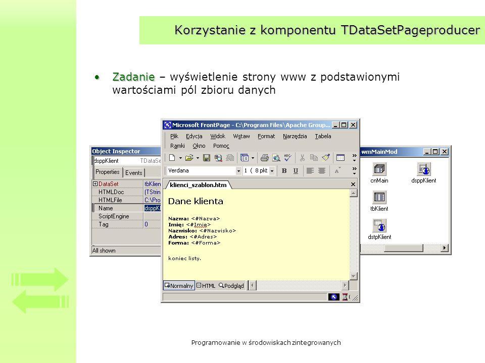 Korzystanie z komponentu TDataSetPageproducer