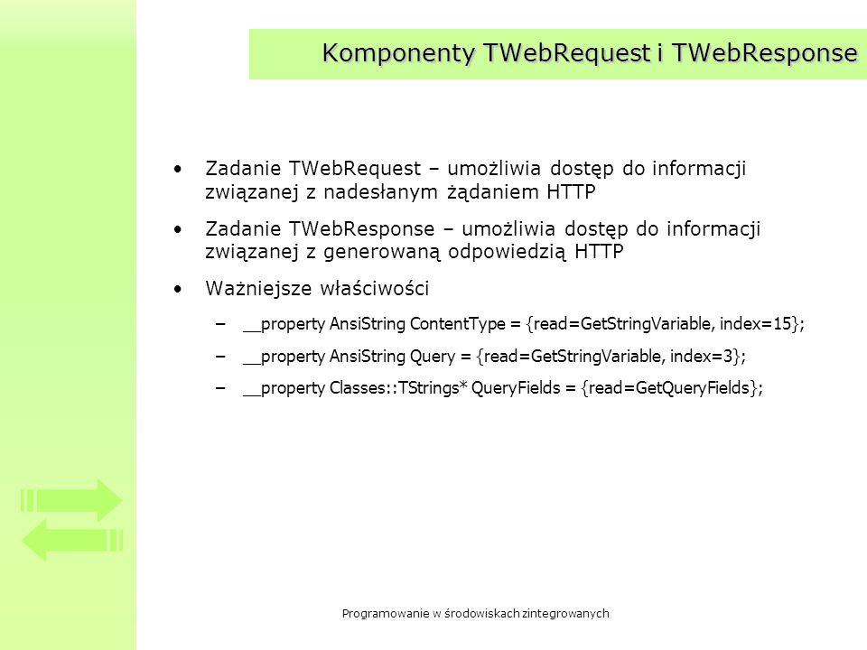 Komponenty TWebRequest i TWebResponse