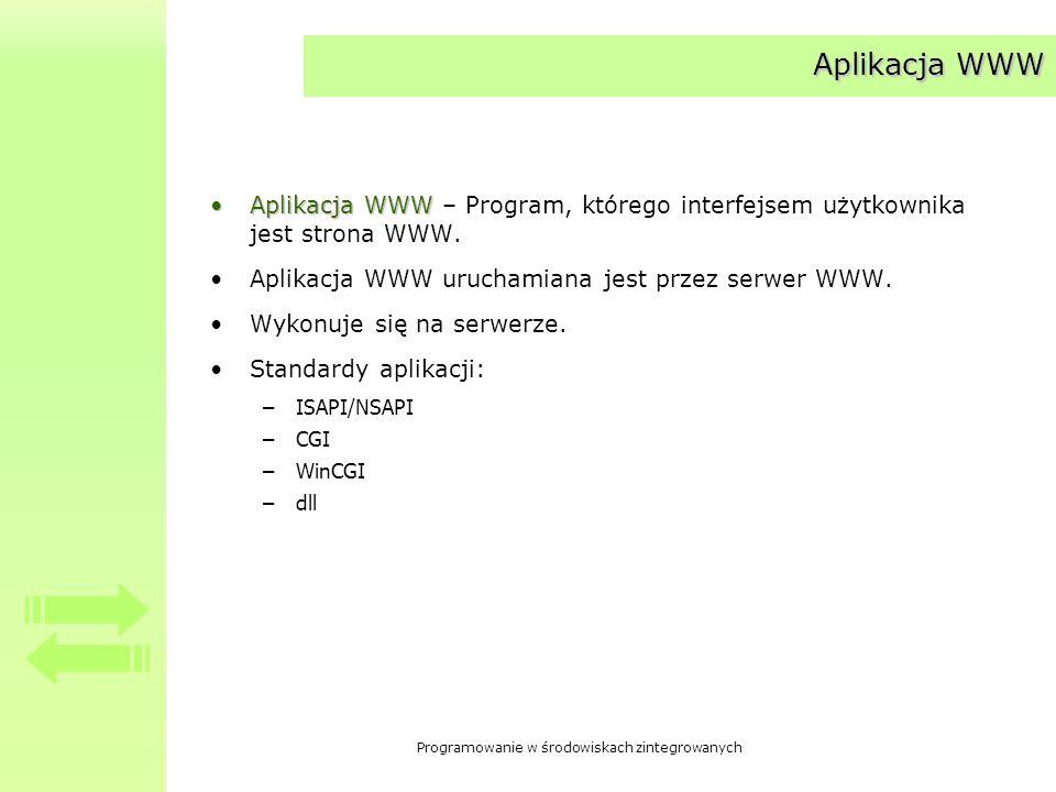 Aplikacja WWW Aplikacja WWW – Program, którego interfejsem użytkownika jest strona WWW. Aplikacja WWW uruchamiana jest przez serwer WWW.