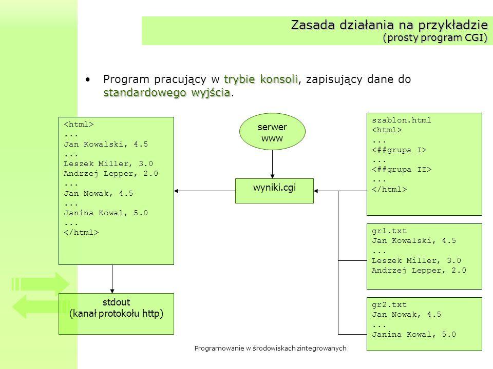Zasada działania na przykładzie (prosty program CGI)
