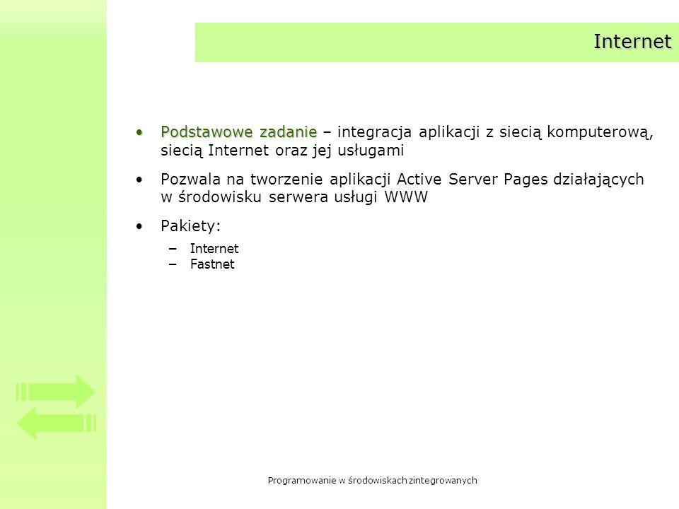 Internet Podstawowe zadanie – integracja aplikacji z siecią komputerową, siecią Internet oraz jej usługami.