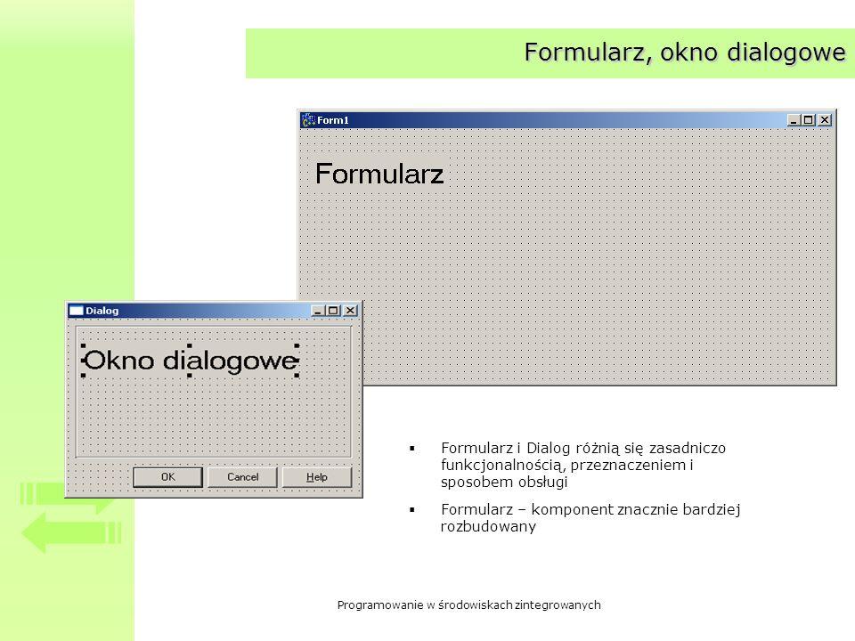 Formularz, okno dialogowe