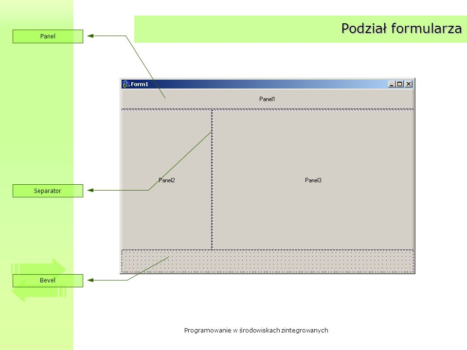 Podział formularza Panel Separator Bevel