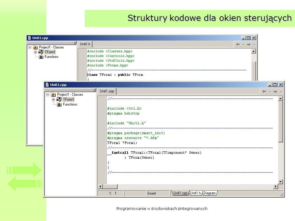 Struktury kodowe dla okien sterujących