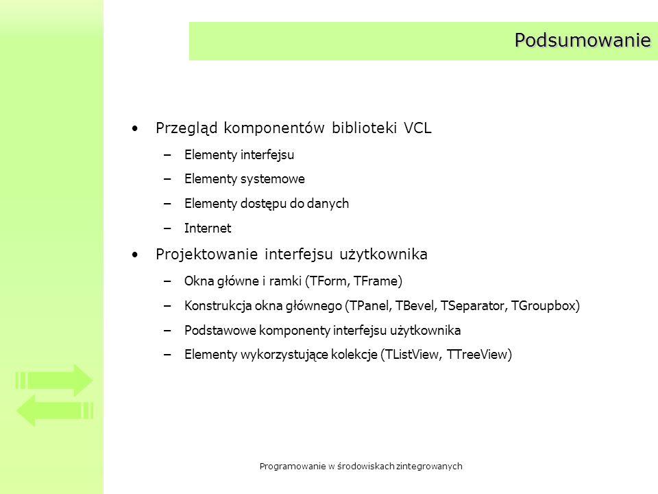 Podsumowanie Przegląd komponentów biblioteki VCL