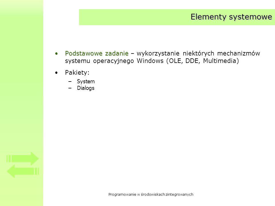 Elementy systemowe Podstawowe zadanie – wykorzystanie niektórych mechanizmów systemu operacyjnego Windows (OLE, DDE, Multimedia)