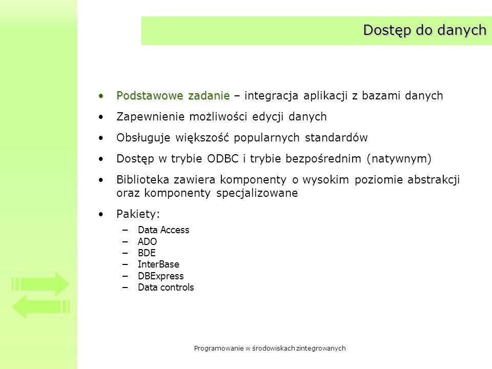 Dostęp do danych Podstawowe zadanie – integracja aplikacji z bazami danych. Zapewnienie możliwości edycji danych.