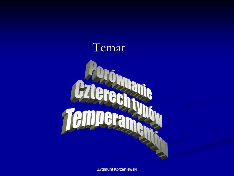 Temat Porównanie Czterech typów Temperamentów Zygmunt Korzeniewski
