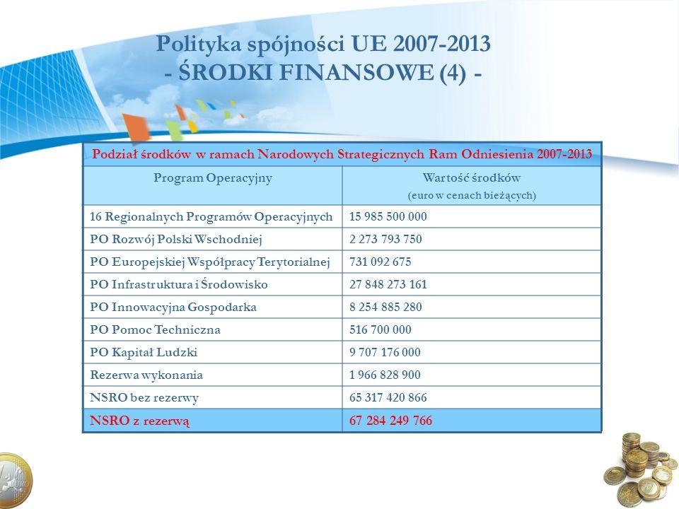 Polityka spójności UE 2007-2013 - ŚRODKI FINANSOWE (4) -